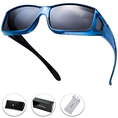 The Fresh High Definition Polarized Wrap Around Shield Sunglasses for Prescription Glasses - Gift Box Package (703-Crystal Blue, Grey(Including side lens))