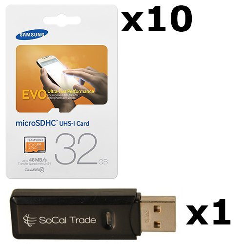 10 PACK - Samsung 32GB MicroSD HC Evo Class 10 UHS-1 TF MicroSDHC TransFlash High Speed Memory Card MB-MP32D 32G 32 GB GIGS (M.E32V.RTx10.550) LOT OF 10 with USB SoCal Trade© SCT Dual Slot MicroSD & SD Memory Card Reader - Retail Packaging by Samsung