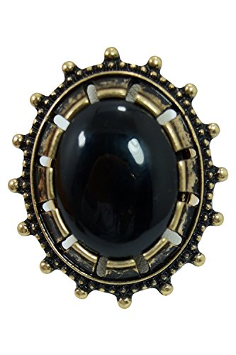 [Goth Steampunk Queen Jewel Chunky Oval Acrylic Stone Ring (Black)] (Gothic China Doll Costume)