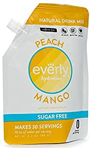 Everly Hydration Drink Mix, Peach Mango Flavored Powdered Drink Mix - 30 servings in Pouch - Sugar Free, Low Calorie, All Natural (NOW CAFFEINE FREE)