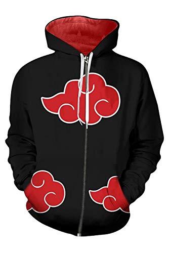 - UU-Style Men's Naruto Akatsuki Cloud Long Sleeve Bomber Jacket Uchiha Itachi Cosplay Costume Hoodie Sweatshirt (XX-Large, Black)