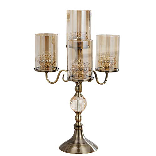 4 arms Ornate Candle Holders Elegance Luxurious Candlestick Holder Thicken Glass Non-Slip Bottom Glass Candle Stand Living Room Table Decoration Candelabra-A ()