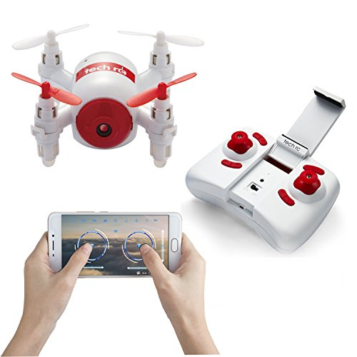Tech rc TR006 RC Mini Drone Nano Copters with HD Camera WiFi FPV Live Video Quadcopter One Key Landing/ Take-off Headless Mode 2.4GHz 6 Axis Gyro Helicopter by tech rc