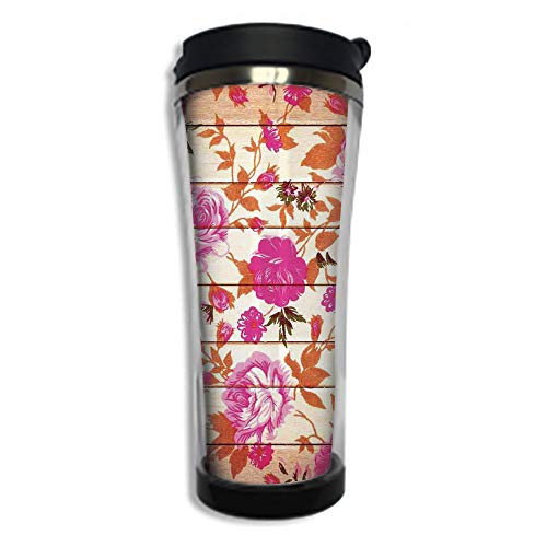 Customizable Travel Photo Mug with Lid - 8.45 OZ(250 ml)Stainless Steel Travel Tumbler, Makes a Great Gift by,Roses Decorations,Vintage Warm Color Roses on Wood Background Well Being and Love Theme ()