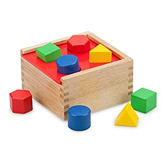 New Classic Toys Wooden Shape Sorting Cube Educational Toys and Color Perception Toy for Preschool Age Toddlers Boys Girls