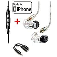 Shure SE215-CL Clear Earphones and CBL-M+-K-EFS Music Phone Cable with Remote and Mic for iPhone, iPod, iPad