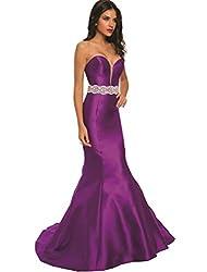 Long Off-Shoulder Evening Dress with Rhinestone Belt