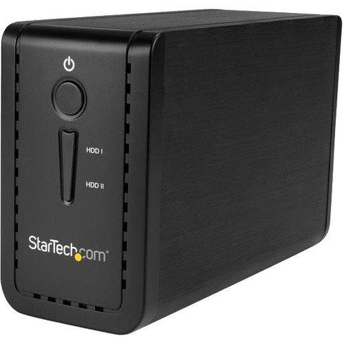 "StarTech.com 3.5"" External Dual Hard Drive Enclosure - Raid - USB-C and USB-A - SATA 6Gbps - 2 Bay USB 3.1 SSD/HDD Enclosure"