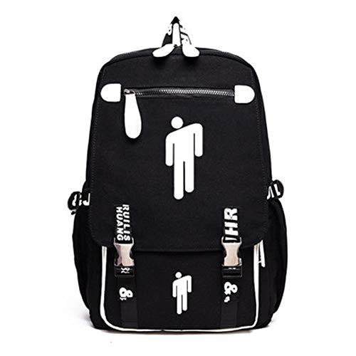 Timmor Singer Billie Eye Eilish High Capacity Laptop Backpack with Metal Button, USB Charging Port Cartoon Bookbags for Women Men.(Black2)