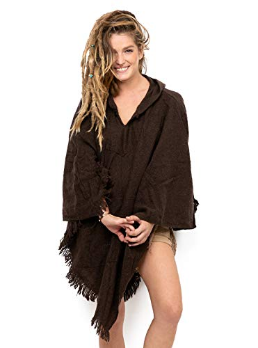 Unisex Wool Poncho with Hood Kangaroo Pocket Triangle Fringe Hem Brown One ()