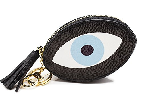 StylesILove Monster Eye Mini Coin Purse Zipper Bag Keychain Cute Wallet Pouch (Monster Eye Oval) (Coin Oval)