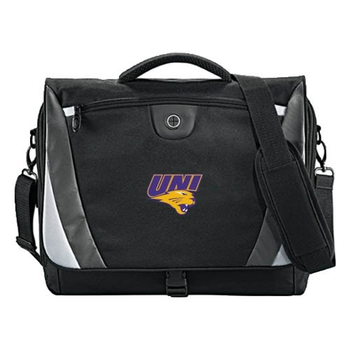 Northern Iowa Slope Black/Grey Compu Messenger Bag 'UNI Official Logo' by CollegeFanGear