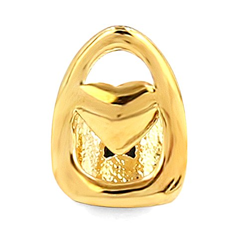 TOPGRILLZ 14K Gold Plated Single Top Tooth Grill Cap Custom Grillz Canine Teeth Hip Hop (Heart Tooth)]()