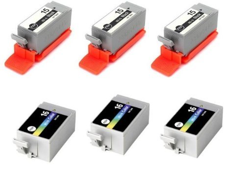 6pk Compatible Canon (3)BCI-15 Black (3) BCI-16 color Ink Cartridges. Fits Canon Portable Printers PIXMA iP90 PIXMA iP90V SELPHY DS700 SELPHY DS810. by