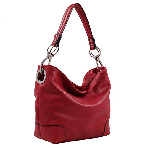 (MKF Hobo bag for Women - Satchel-Tote shoulder Bag - Vegan Leather Womens Purse Top Handle Pocketbook Handbag Red)