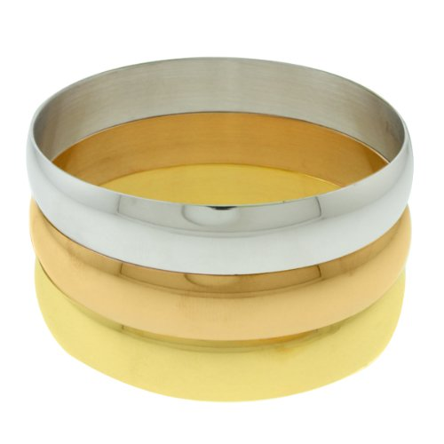 Set of 3 Stainless Steel High Shine Bangle Bracelet Silver Yellow and Rose gold (Bracelet Circle Yellow Gold)