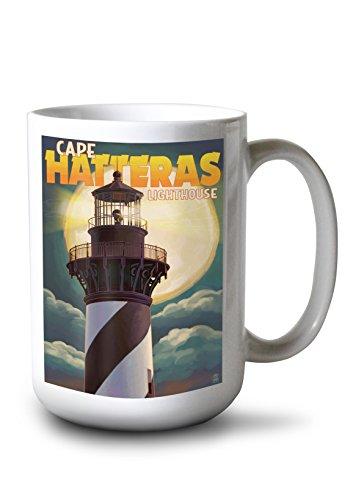 Lantern Press Outer Banks, North Carolina - Cape Hatteras Lighthouse with Full Moon (15oz White Ceramic Mug)