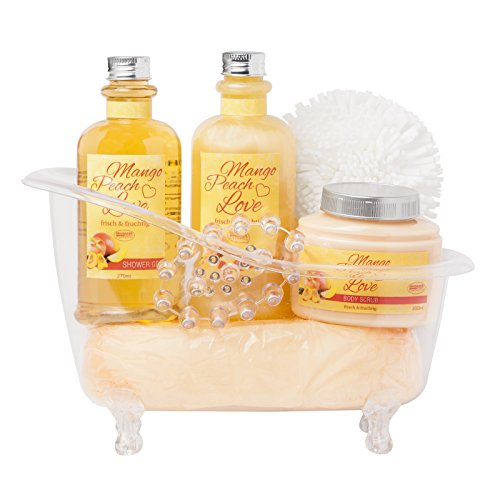 BRUBAKER 6 Pcs Gift Set Mango Peach Love' Beauty Spa Set With Acrylic Bathtub, Bubble Bath, Shower Gel, Body Scrub, Sponge, Acrylic Massage (Spa Gift Pack)