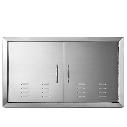 """Mophorn Outdoor Kitchen Access Door 36"""" x 21"""" Double Wall Construction Stainless Steel Flush Mount for BBQ Island, 36inch x 21inch, Vents"""