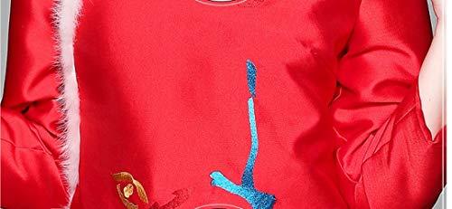 Maniche Giacca s Lungo Signore Fjthy Vintage Cappotto rosso A Cinese E Autunno Lunghe Ricamo Nuovo Inverno Vento xp8Rq1