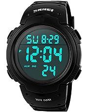 SKMEI Montre de Sport étanche avec Alarme/Chronomètre, Large Poignet Militaire avec rétro-éclairage LED pour Homme