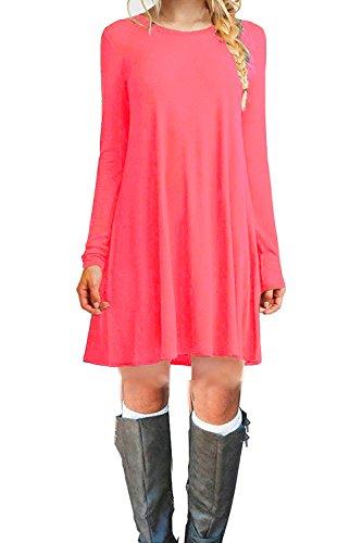 Women's Long Sleeve Casual T-Shirt Flowy Short Dress Watermelon Red (Red Tunic Dress)
