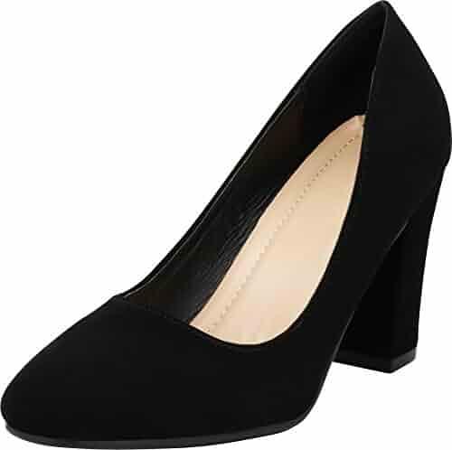6aff70a218 Cambridge Select Women's Classic Slip-On Closed Toe Chunky Block Heel Pump