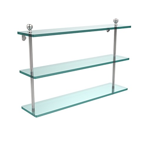 Allied Brass MA-5/22-PC Mambo Collection 22 Inch Triple Tiered Glass Shelf, Polished Chrome