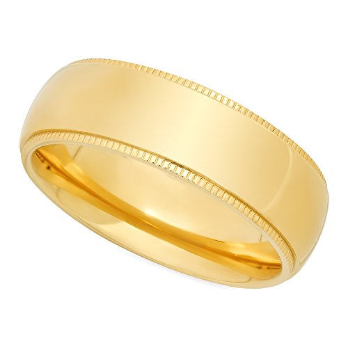 The Bling Factory Men's Gold Plated Titanium 8mm Comfort Fit Wedding Ring w/Milgrain Edges, Size 8.5 + Bonus Polishing Cloth - Edge Milgrain Wedding Ring