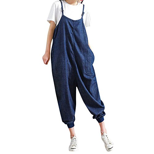 vermers Clearance Deals Women Loose Jumpsuits Strap Bib Romper Casual Overall Baggy Pants Trousers(XL, - City Trousers Suit