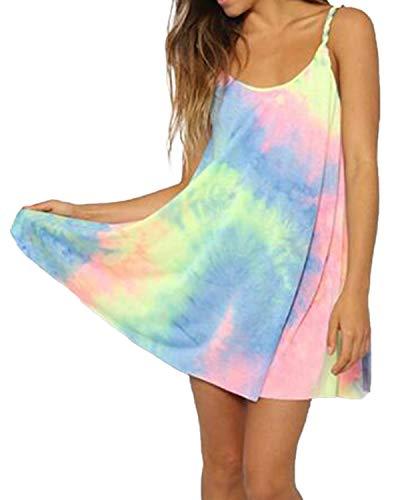 ZANZEA Women's Sleeveless T Shirt Dress Tie-dye Round Neck Rainbow Tank Swing Mini Dress Colorful 14