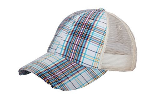 - G Men's Low Profile Plaid Mesh Trucker Cap (White)