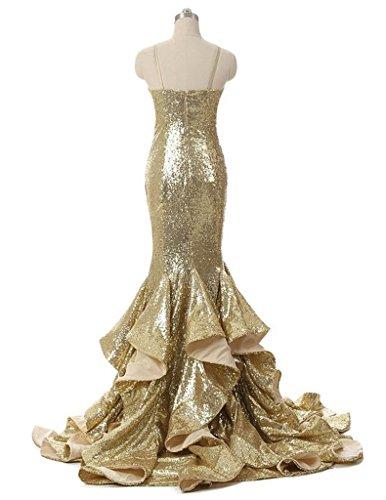 Paillettes De Femmes Cdress Robes Formelles De Bal Chérie Sirène Robes De Fête En Soirée Or
