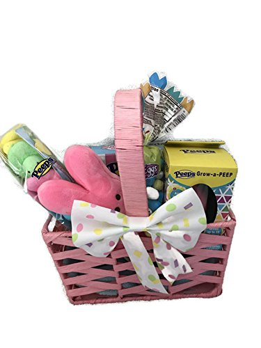 Easter Basket For Girls, Includes Basket With Bow, Peeps, Peeps Sucker, Peeps Plush, Grow A Peep, Robins Eggs -