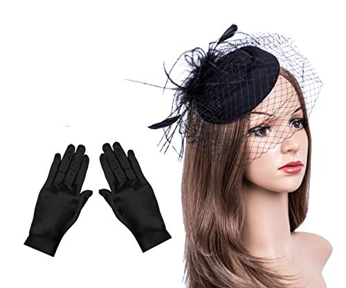 Fascinators Hats 20s 50s Hat Pillbox Hat Cocktail Tea Party Headwear with Veil for Girls and Women (B1-Black -