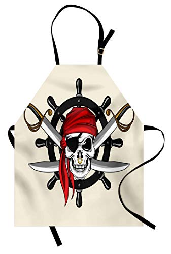 Lunarable Skull Apron, Pirate Skull with Scarf Wheel Violence Sea Sail Adventure Illustration, Unisex Kitchen Bib with Adjustable Neck for Cooking Gardening, Adult Size, White and -