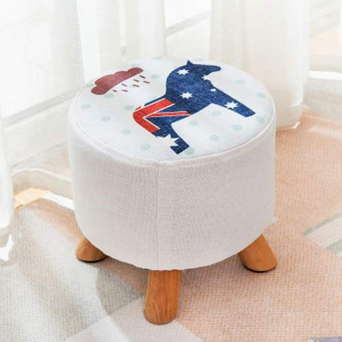 Paddia Stool Home Solid Wood Stool Coffee Table Stool Creative Shoes Bench Fabric Sofa Bench Bench Change Shoes Stool Living Room Corridor Bedroom Available Foot Stool (Color : Polka ()