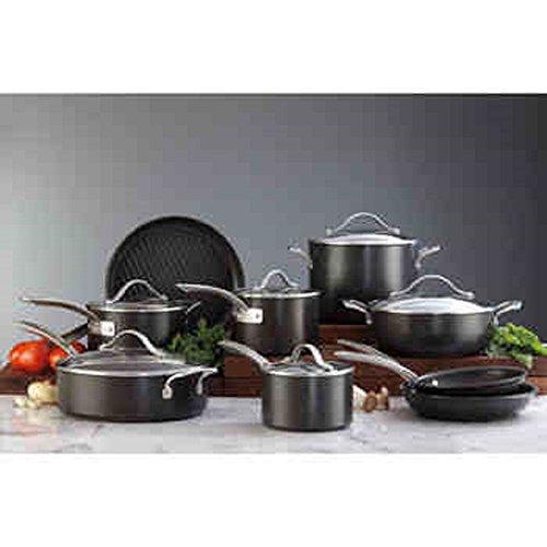 "NEW!!! Kirkland Signature ""No Hot Spots"" 15-pc Hard Anodized Cookware Set, Black/Silver Finish"