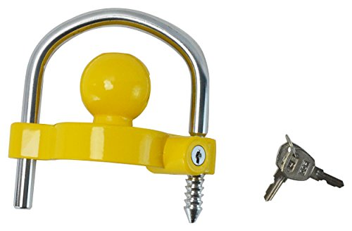GoTow GT-10002 Yellow Universal Coupler Trailer Hitch Security Lock Fits 1 7/8' 2' 2 5/16'
