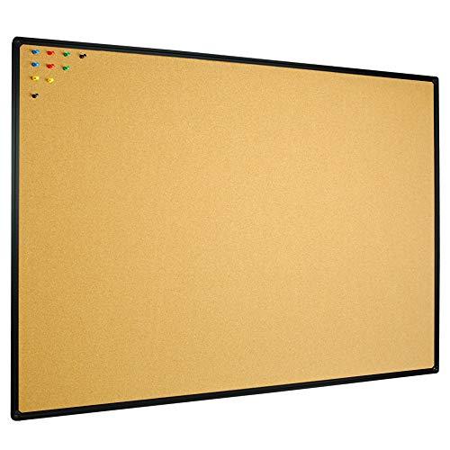JILoffice Cork Board Bulletin Board 48 x 36 Notice Board, Black Aluminium Frame Wall Mounted Board for Office Home and School with 10 Push Pins