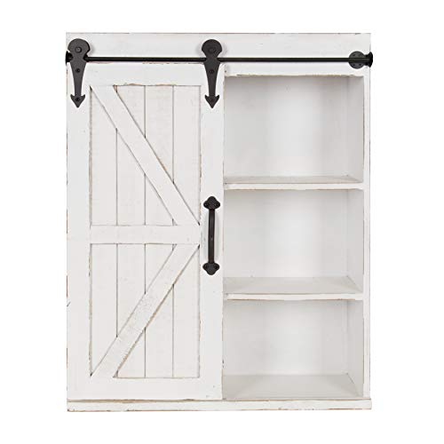 - Kate and Laurel Cates Modern Farmhouse Wood Wall Storage Shelving Cabinet with Sliding Barn Door, Rustic White