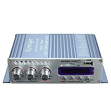 GOZAR Kentiger Mini Amplificador De Potencia Hifi Estéreo Mp3 Fm Audio Música Amp Para Coche Moto