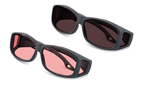 (VALUE) Over-Rx TheraSpecs Fluorescent Light and Migraine Glasses: Indoor and Outdoor Tint Fit Over Your Prescription Eyewear by TheraSpecs
