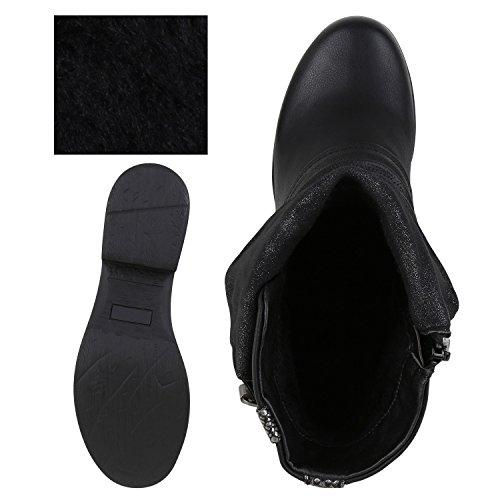 napoli-fashion - botas estilo motero Mujer negro/plateado