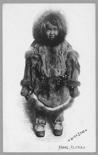 Photo: Child in fur outfit, Eskimo, Indians of North America, Nome, Alaska, AK, 1900-1930 . Size: (Eskimo Outfit)