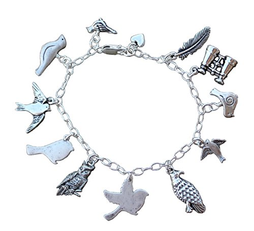 Bird Watcher Bracelet - Antiqued Pewter Birds & Binocular Charms on Sterling Silver Chain - Owl, Eagle, Songbirds, Dove, Feather - Size S (7