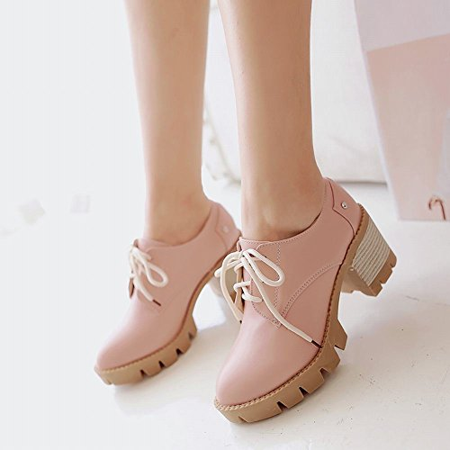 Latasa Womens Fashion Lace-up Mid Chunky Heel Oxford Shoes Pink Limucr