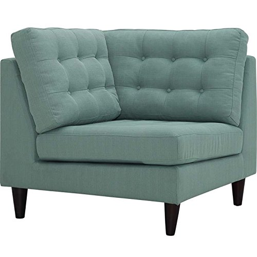 Modway Empress Mid-Century Modern Upholstered Fabric Corner Sofa In Laguna