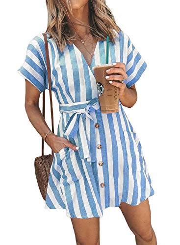 Stripe Shirt Dress (HOTAPEI Womens Ladies Fashion Stripe Short Sleeve Wrap V-Neck Casual Summer Button Down Mini Short Shirt Dress with Belt Blue Striped Large)