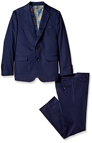 Isaac Mizrahi Little Boys' Slim Cotton 2pc Suit, Navy, (Cotton Nylon Suit)